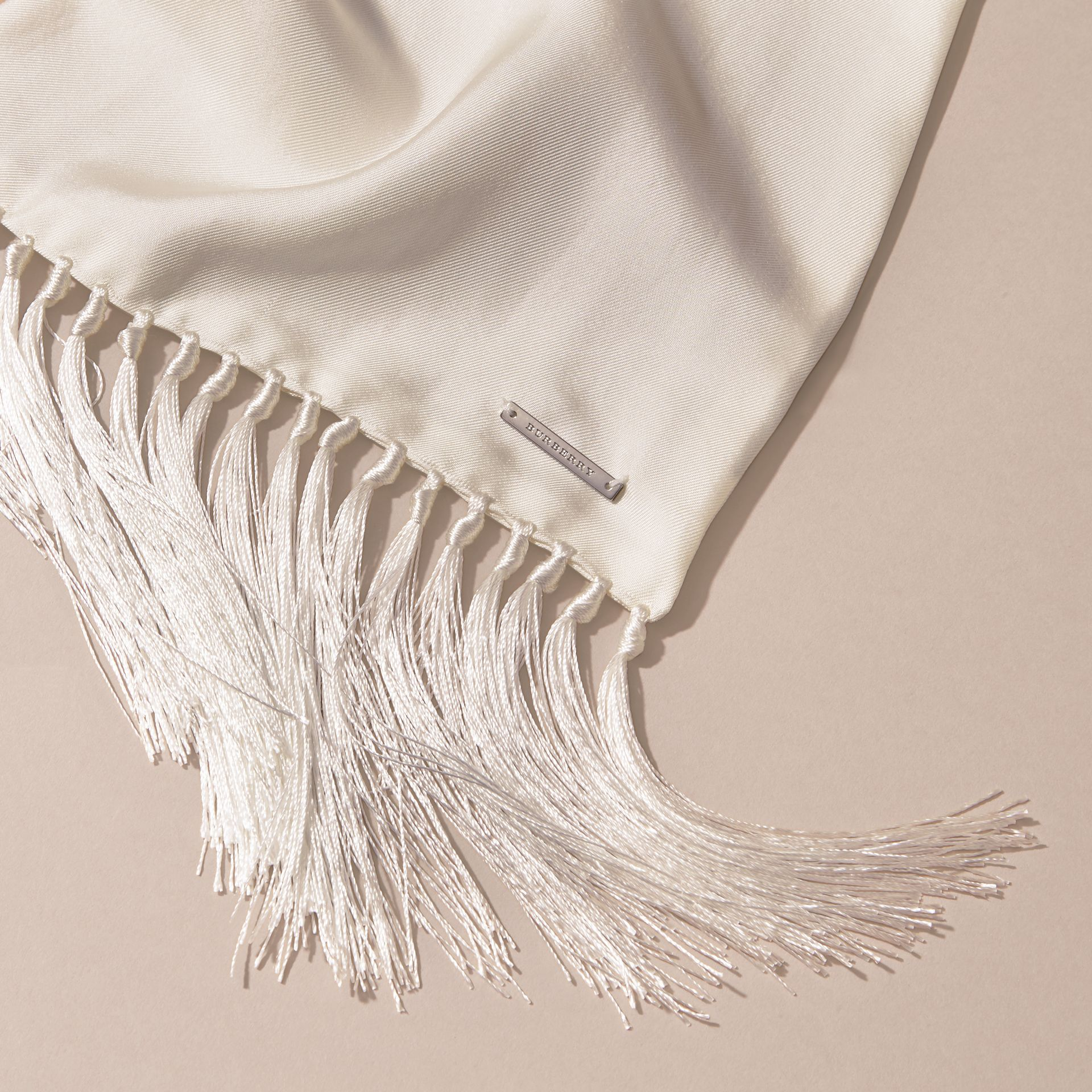 Tasselled Silk Scarf in White - gallery image 2