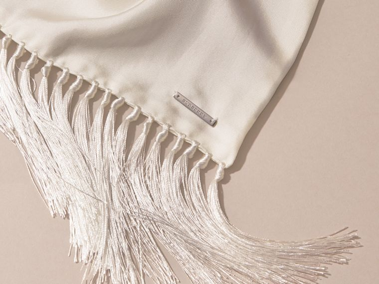 Tasselled Silk Scarf in White - cell image 1