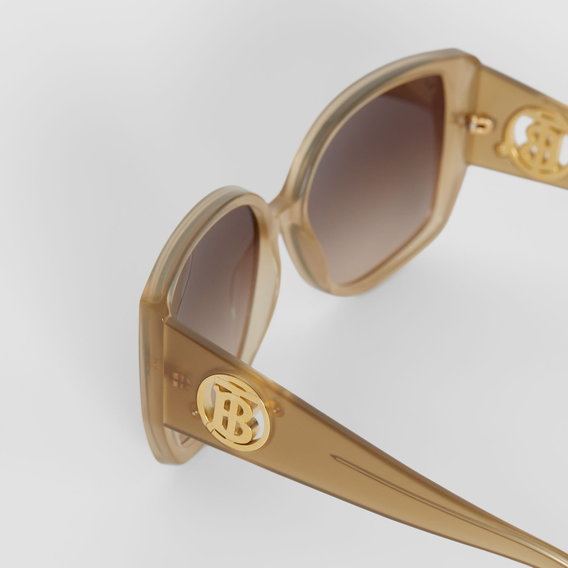 Oversized Butterfly Frame Sunglasses in Beige - Women | Burberry - gallery image 5