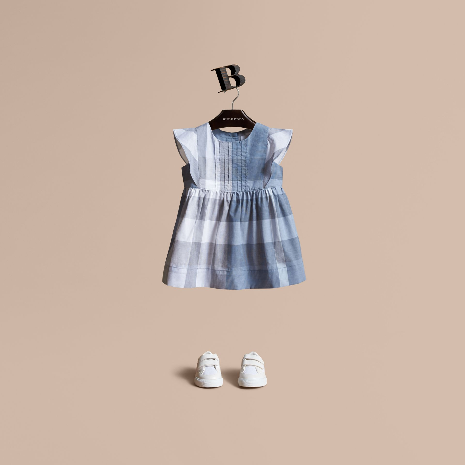 Ruffle Detail Check Cotton Dress in Canvas Blue | Burberry Canada - gallery image 1