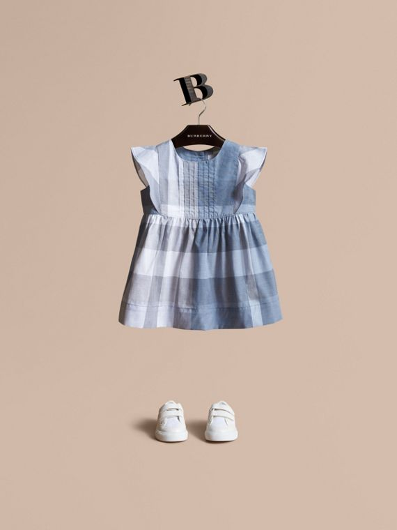 Ruffle Detail Check Cotton Dress in Canvas Blue