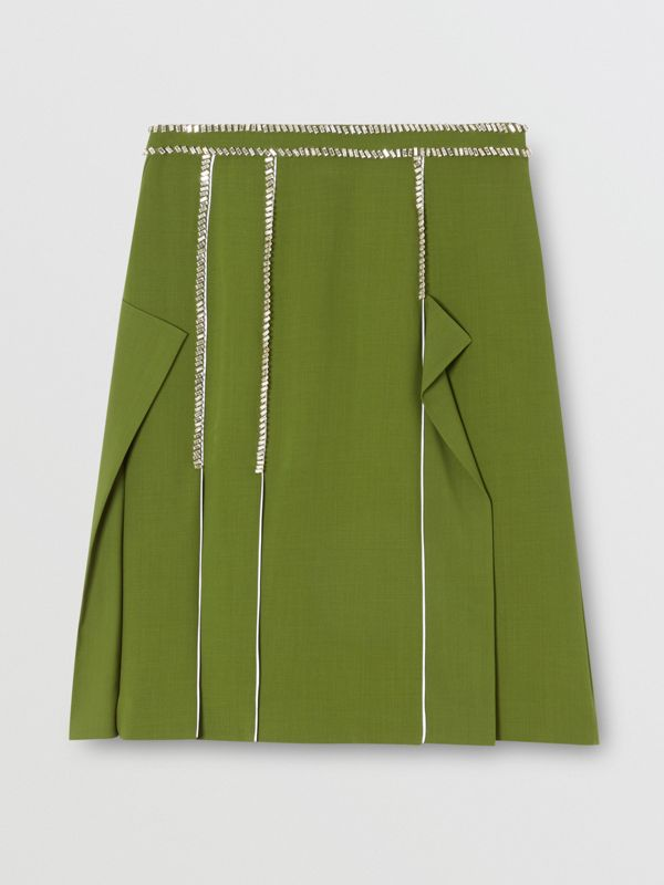 Crystal Detail Panelled Wool Crepe A-line Skirt in Cedar Green - Women | Burberry - cell image 3