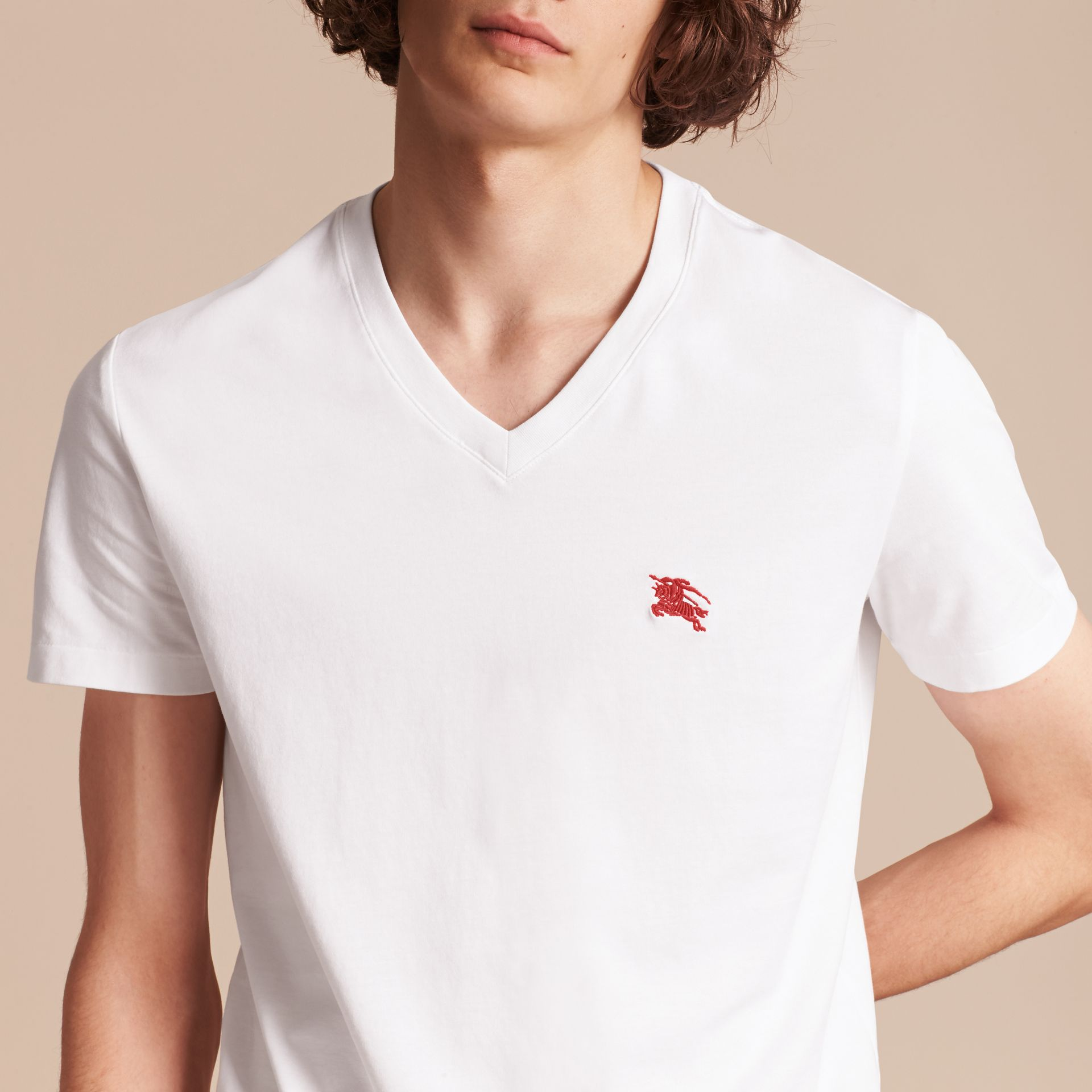 Cotton V-neck T-shirt in Optic White - Men | Burberry - gallery image 5