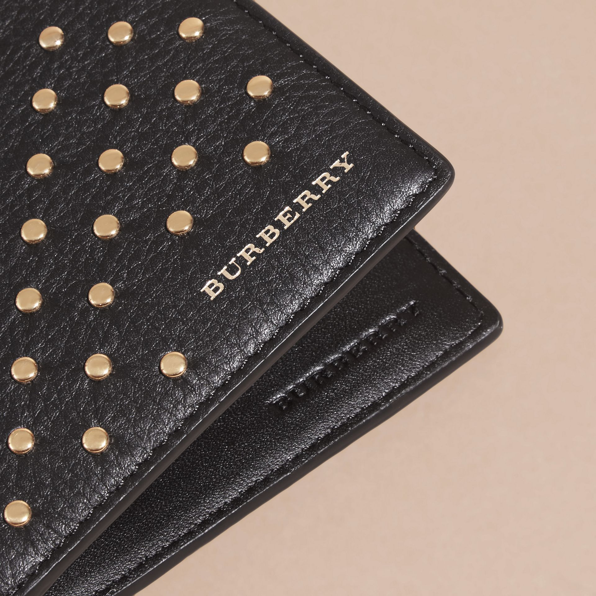 Black Studded Leather Folding Wallet - gallery image 2
