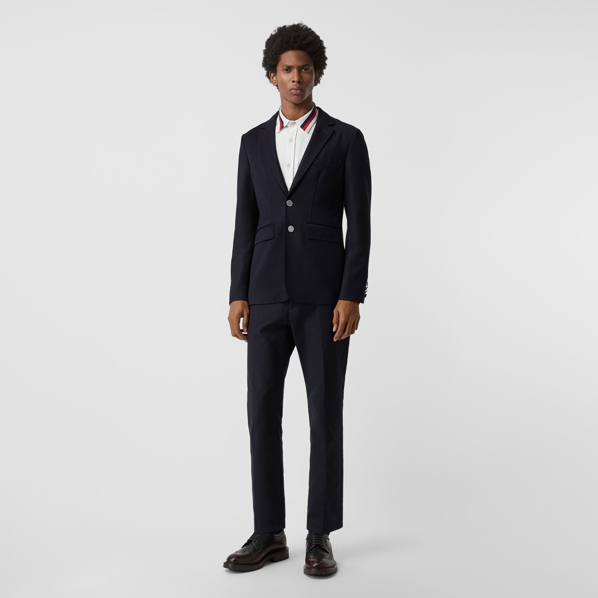 Slim Fit Metal Button Wool Gabardine Blazer in Navy - Men | Burberry Singapore - gallery image 0