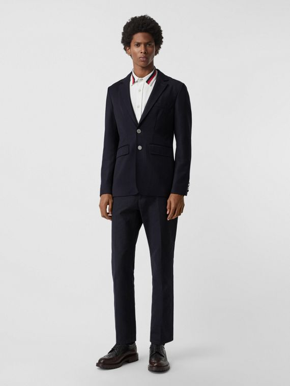Slim Fit Metal Button Wool Gabardine Blazer in Navy