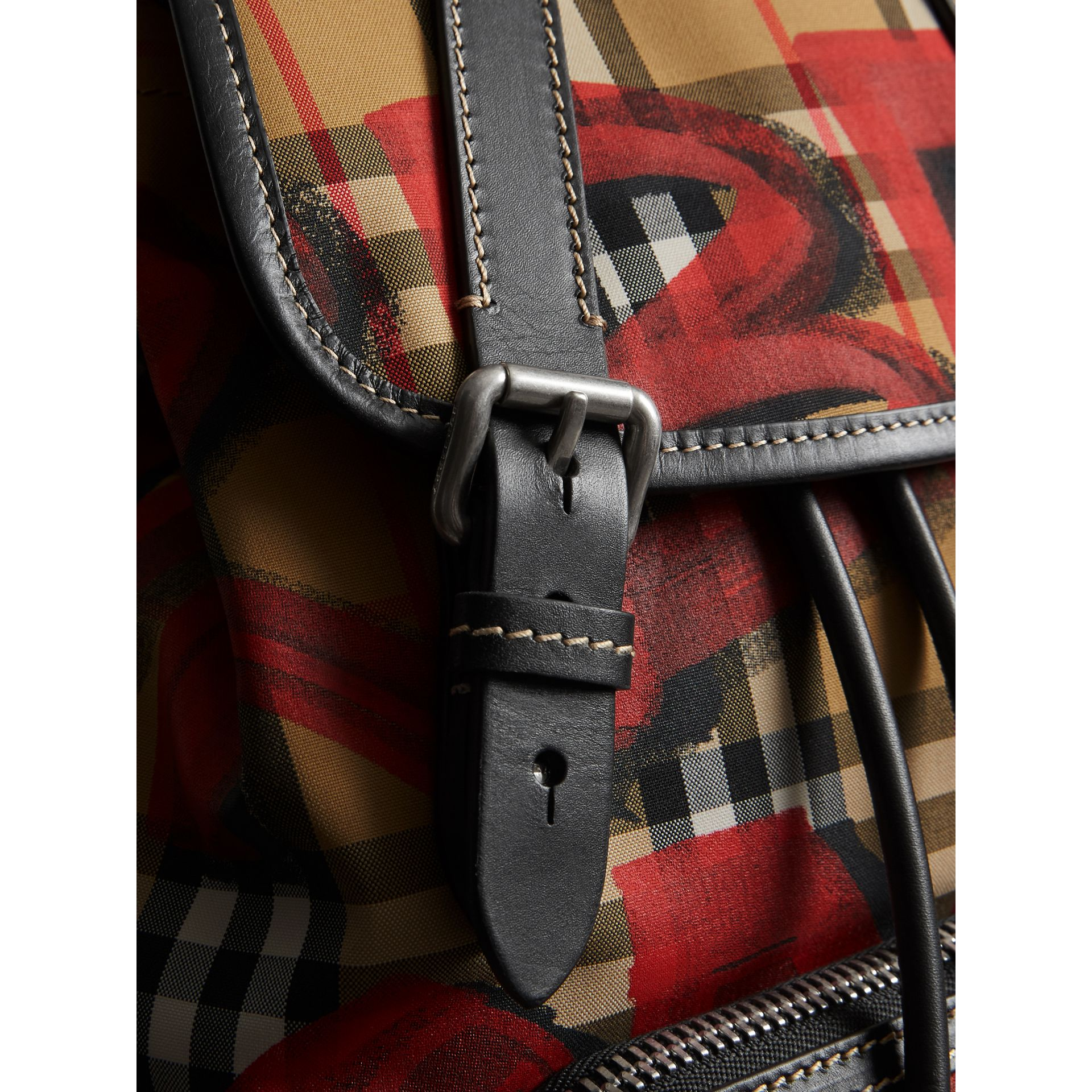 The Medium Rucksack in Graffiti Print Vintage Check in Antique Yellow/red - Women | Burberry United Kingdom - gallery image 1
