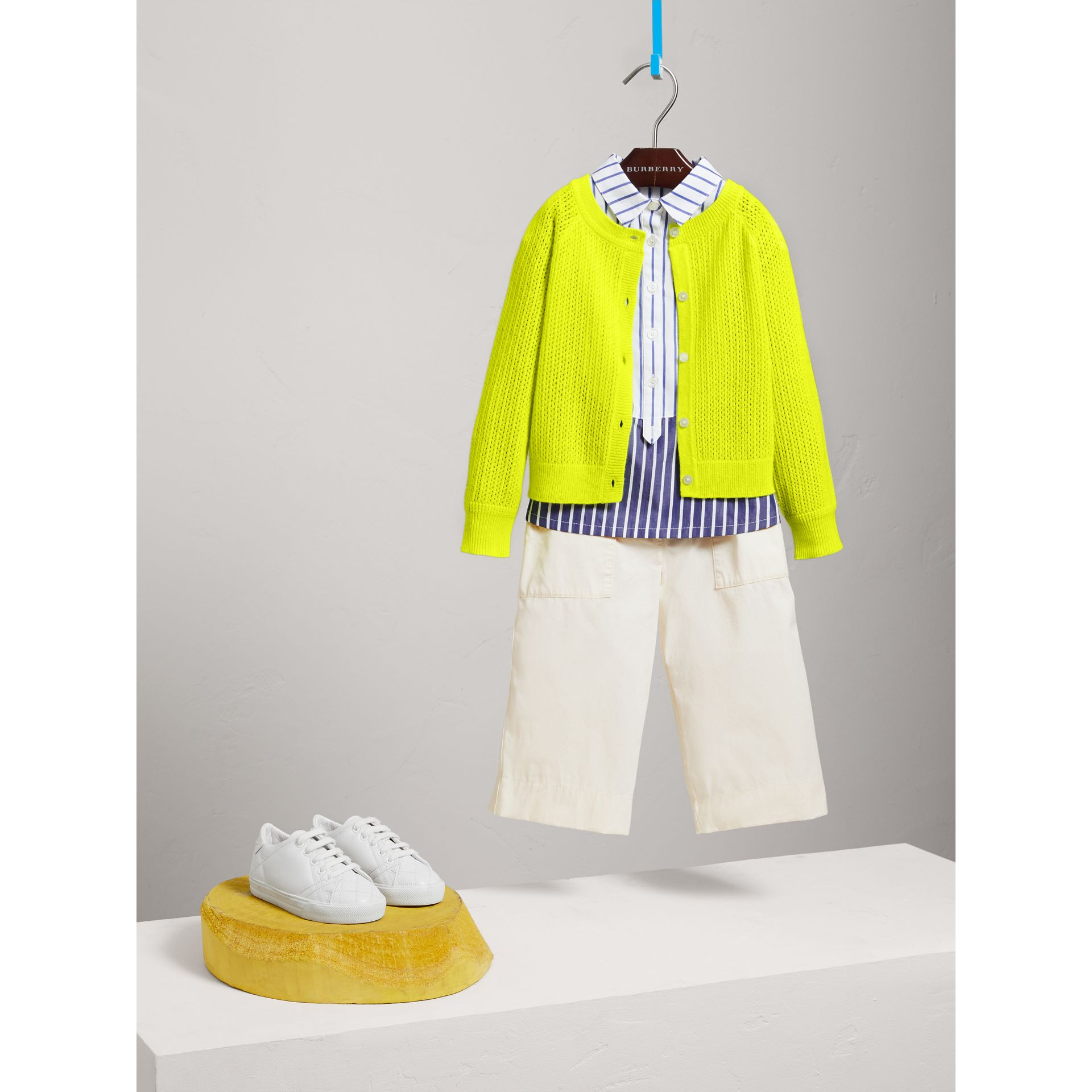 Open-stitch Knitted Cashmere Cardigan in Neon Yellow - Children | Burberry - gallery image 2