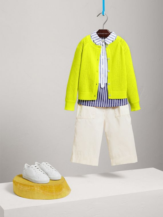 Open-stitch Knitted Cashmere Cardigan in Neon Yellow - Girl | Burberry - cell image 2