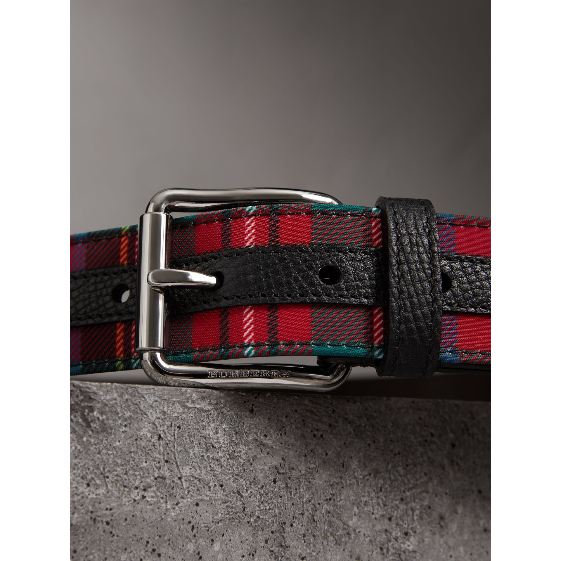 Tartan and Leather Belt in Military Red - Men | Burberry - gallery image 1