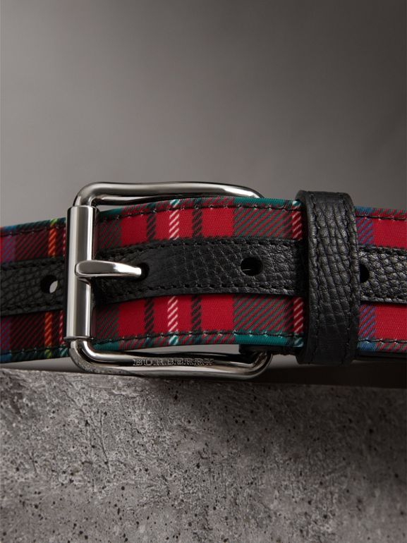 Tartan and Leather Belt in Military Red - Men | Burberry - cell image 1