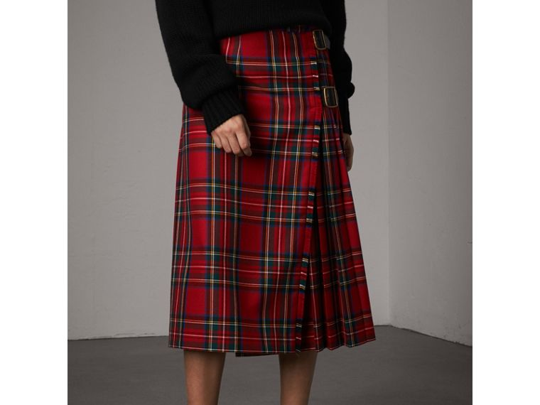 Tartan Wool Kilt in Bright Red - Women | Burberry Australia - cell image 4