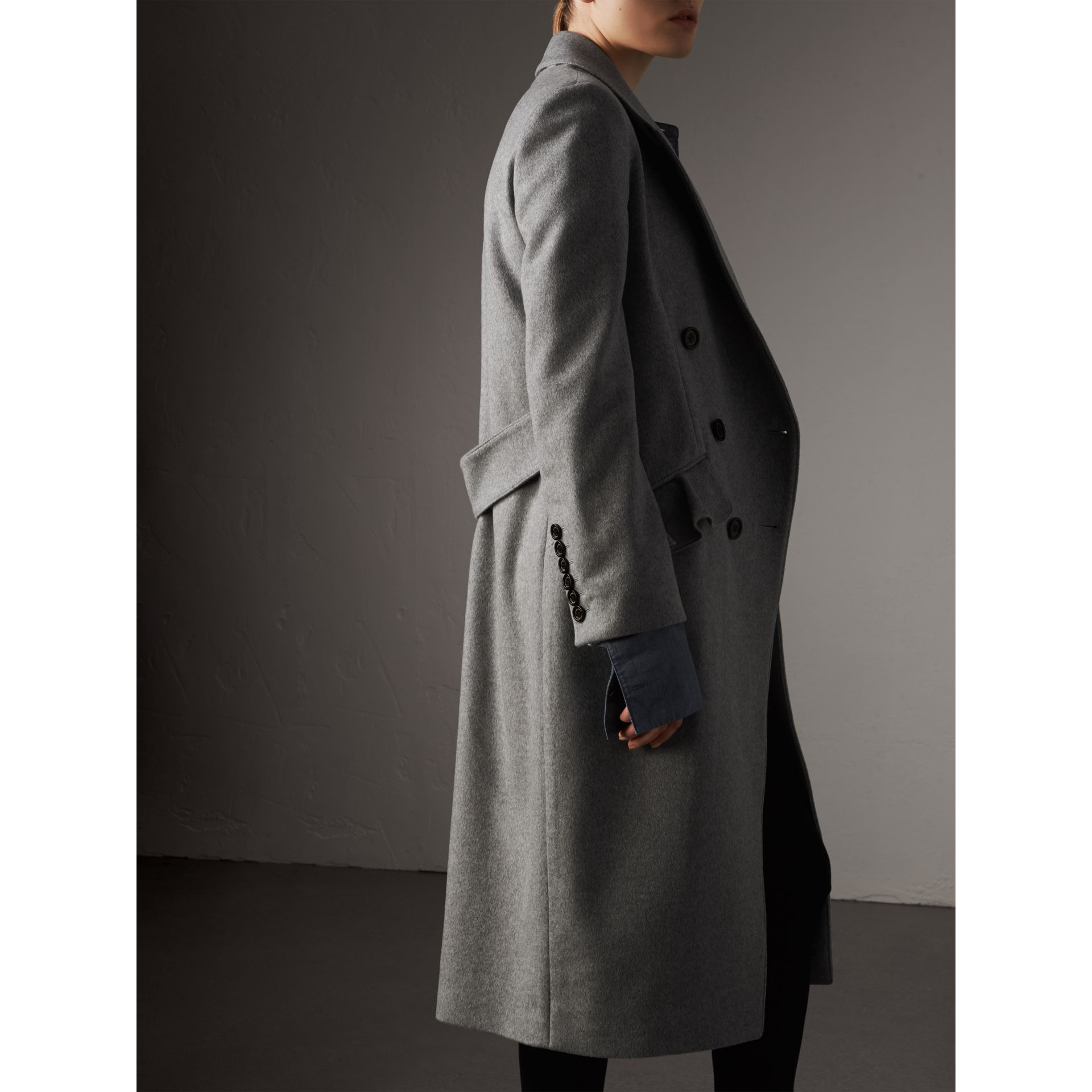Ruffle Detail Wool Cashmere Tailored Coat in Pale Grey Melange - Women | Burberry Australia - gallery image 3