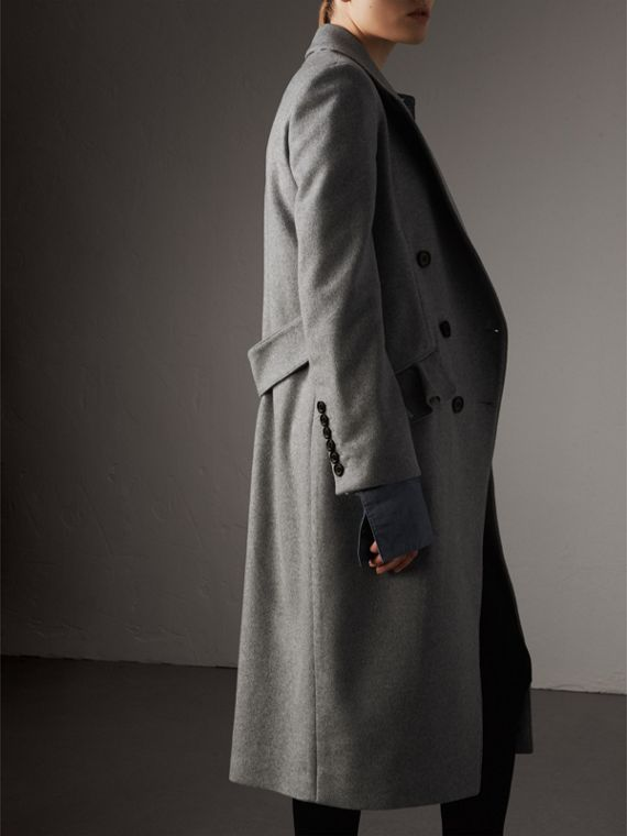 Ruffle Detail Wool Cashmere Tailored Coat in Pale Grey Melange - Women | Burberry Australia - cell image 2