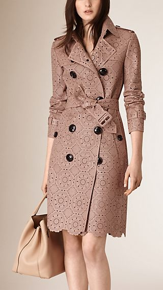 Laser-cut Lace Lambskin Trench Coat