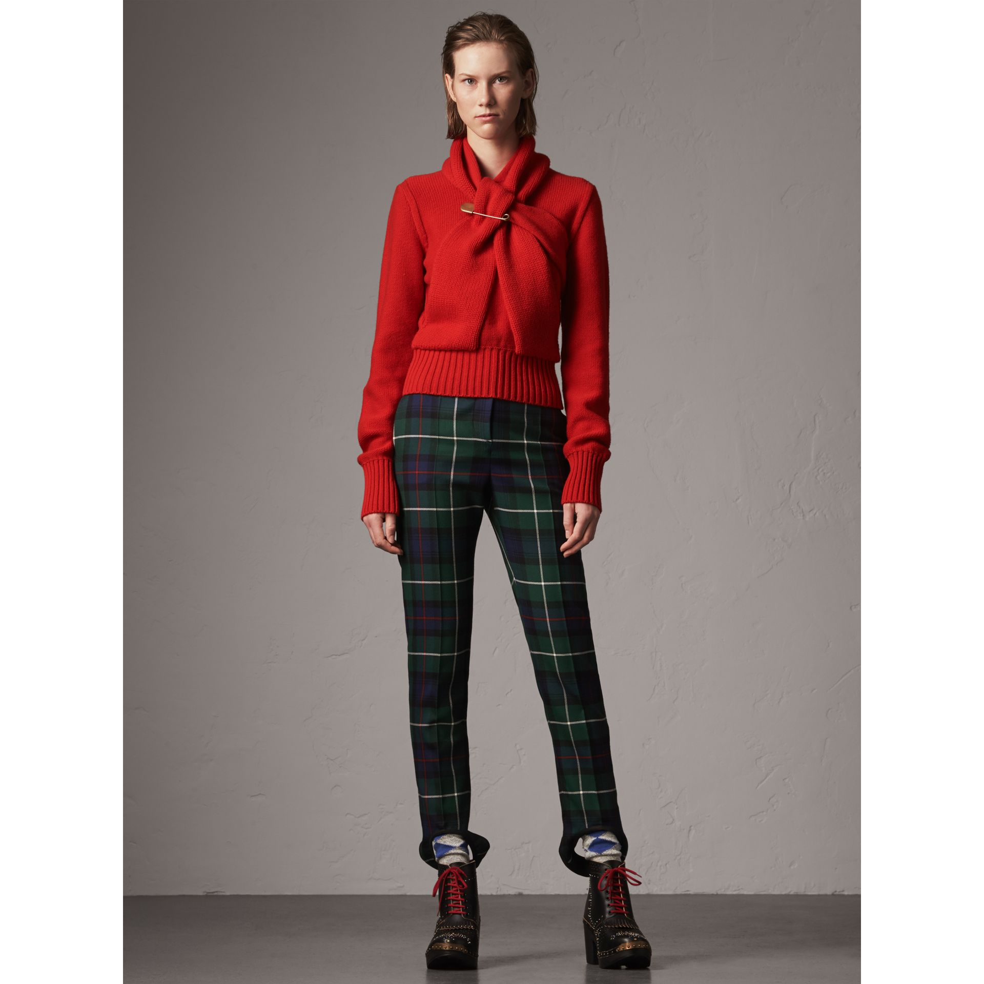Cashmere Tie-neck Sweater in Red - Women | Burberry United Kingdom - gallery image 1