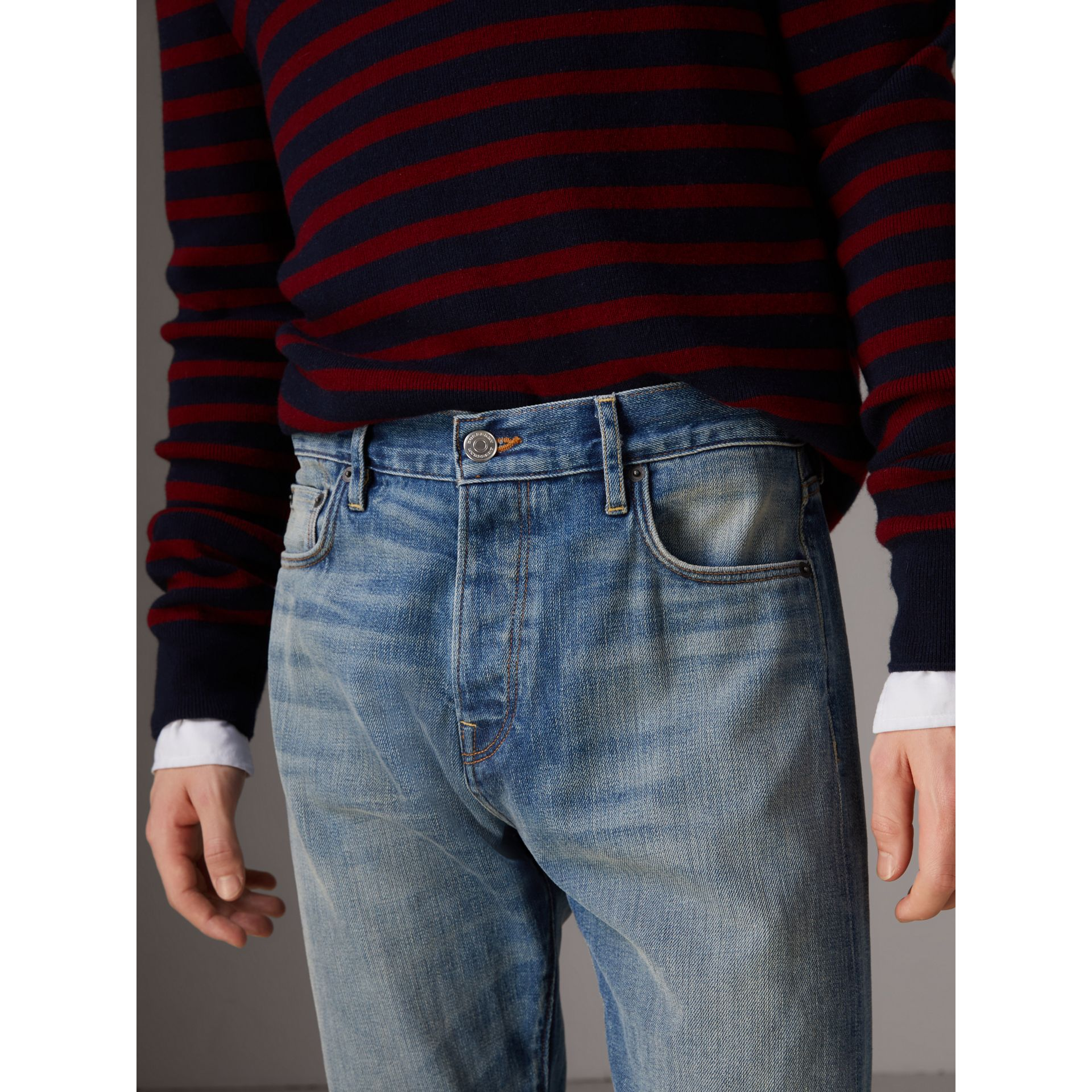 Relaxed Fit Washed Japanese Selvedge Denim Jeans in Light Indigo - Men | Burberry United States - gallery image 1
