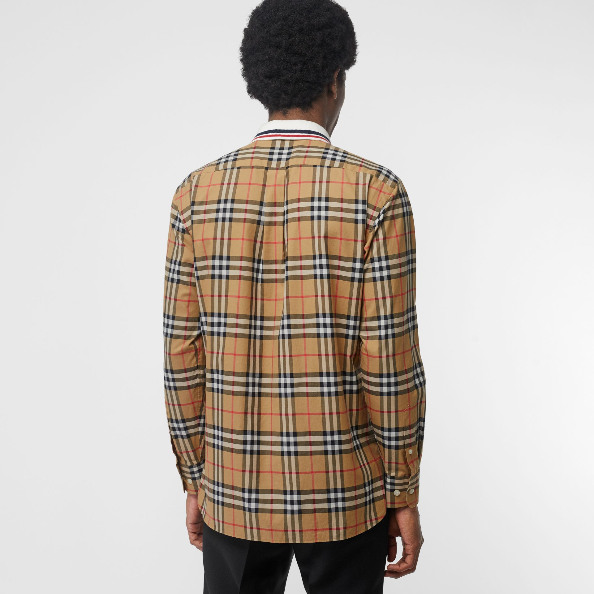 Knit Collar Vintage Check Cotton Shirt in Antique Yellow - Men | Burberry - gallery image 2