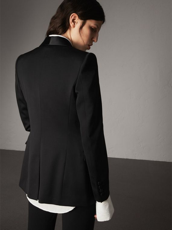 Stretch Wool Tuxedo Jacket in Black - Women | Burberry United Kingdom - cell image 2