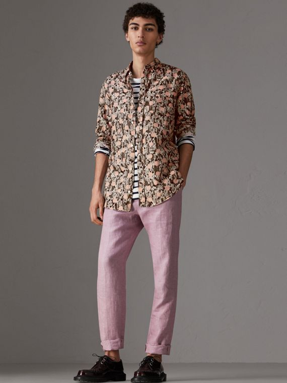 Figurative Print Linen Cotton Shirt in Mid Grey