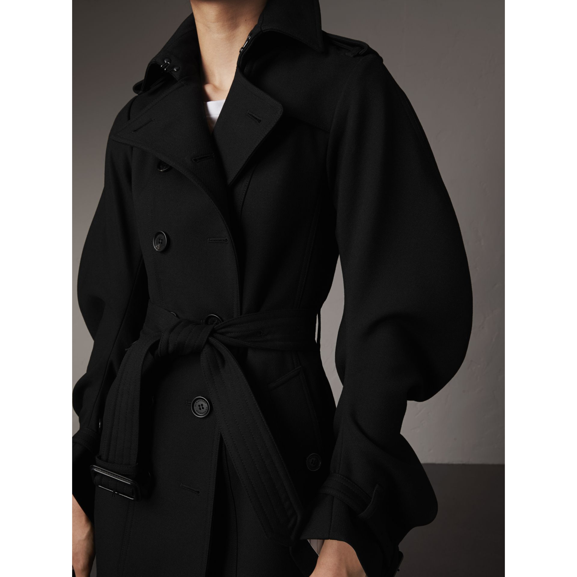 Wool Sculptural Trench Coat in Black - Women | Burberry - gallery image 2