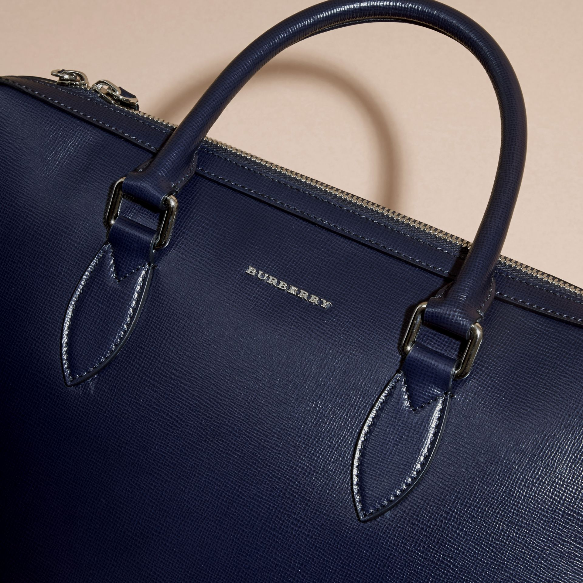 Dark navy/mineral blue The Slim Barrow in Panelled London Leather Dark Navy/mineral Blue - gallery image 2