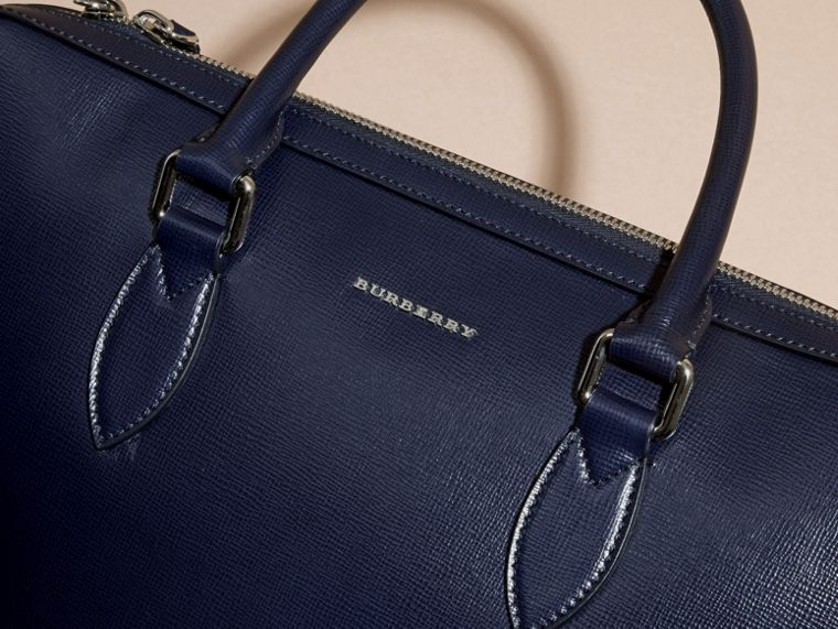 Dark navy/mineral blue The Slim Barrow in Panelled London Leather Dark Navy/mineral Blue - cell image 1
