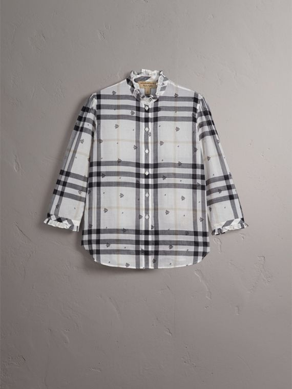 Ruffle Detail Floral Print Check Cotton Shirt - cell image 2