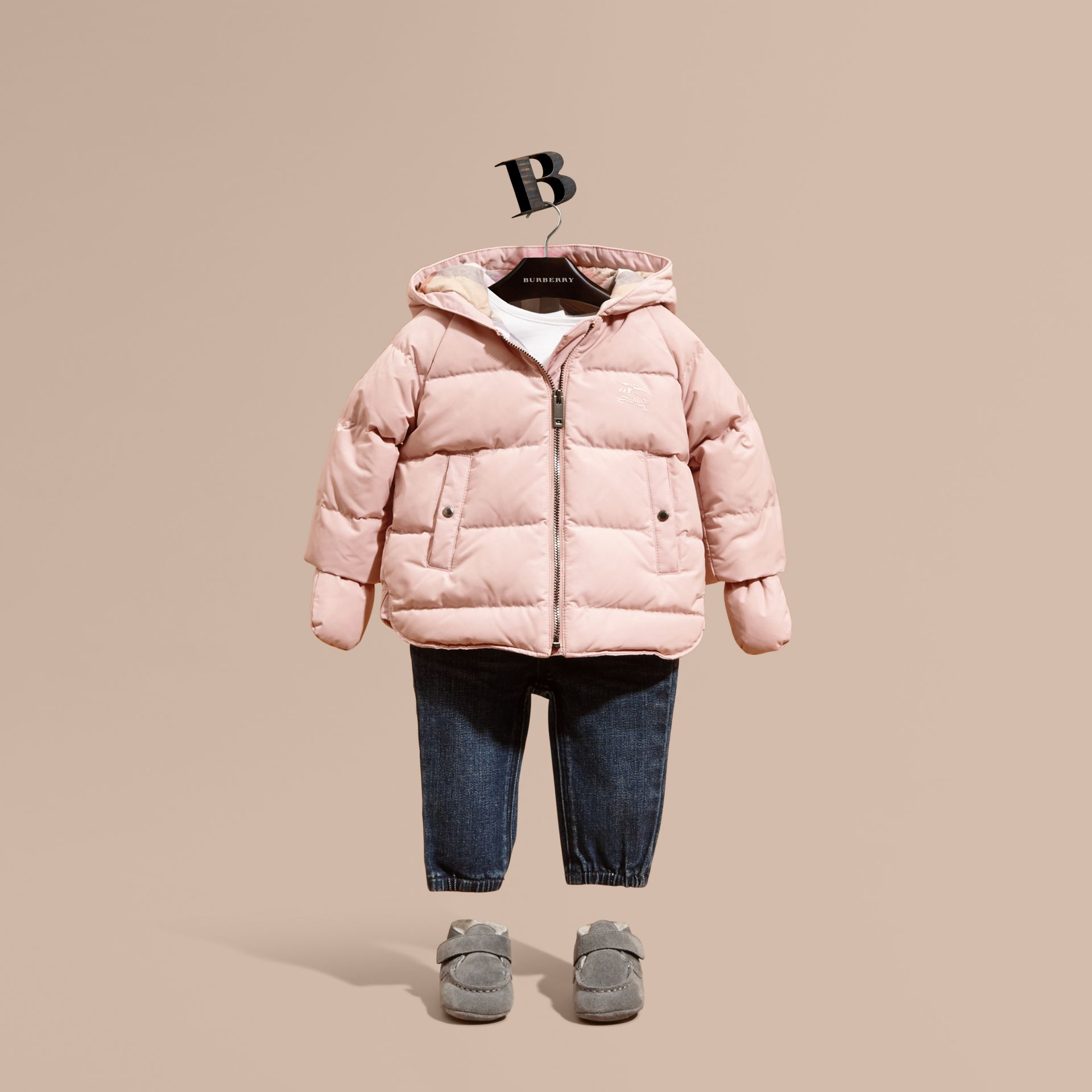 Powder pink Hooded Down-filled Puffer Jacket with Mittens Powder Pink - gallery image 1