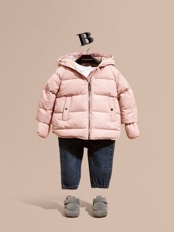 Hooded Down-filled Puffer Jacket with Mittens Powder Pink