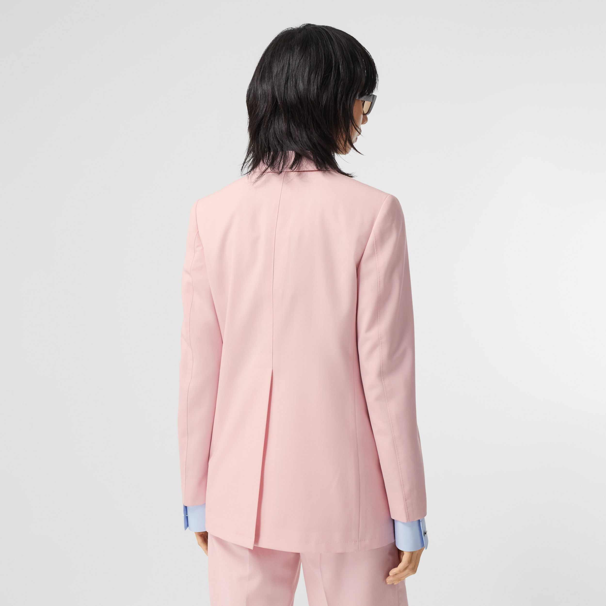 Tumbled Wool Double-breasted Blazer in Soft Pink | Burberry - 3