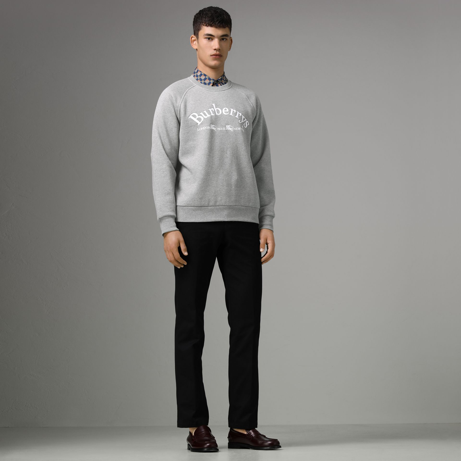 Embroidered Archive Logo Jersey Sweatshirt in Pale Grey Melange - Men | Burberry - gallery image 0