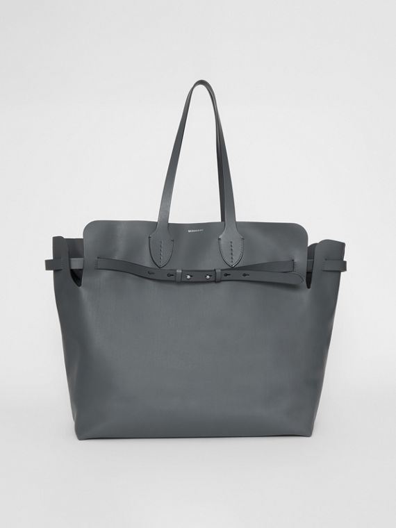 The Large Soft Leather Belt Bag in Dark Pewter Grey
