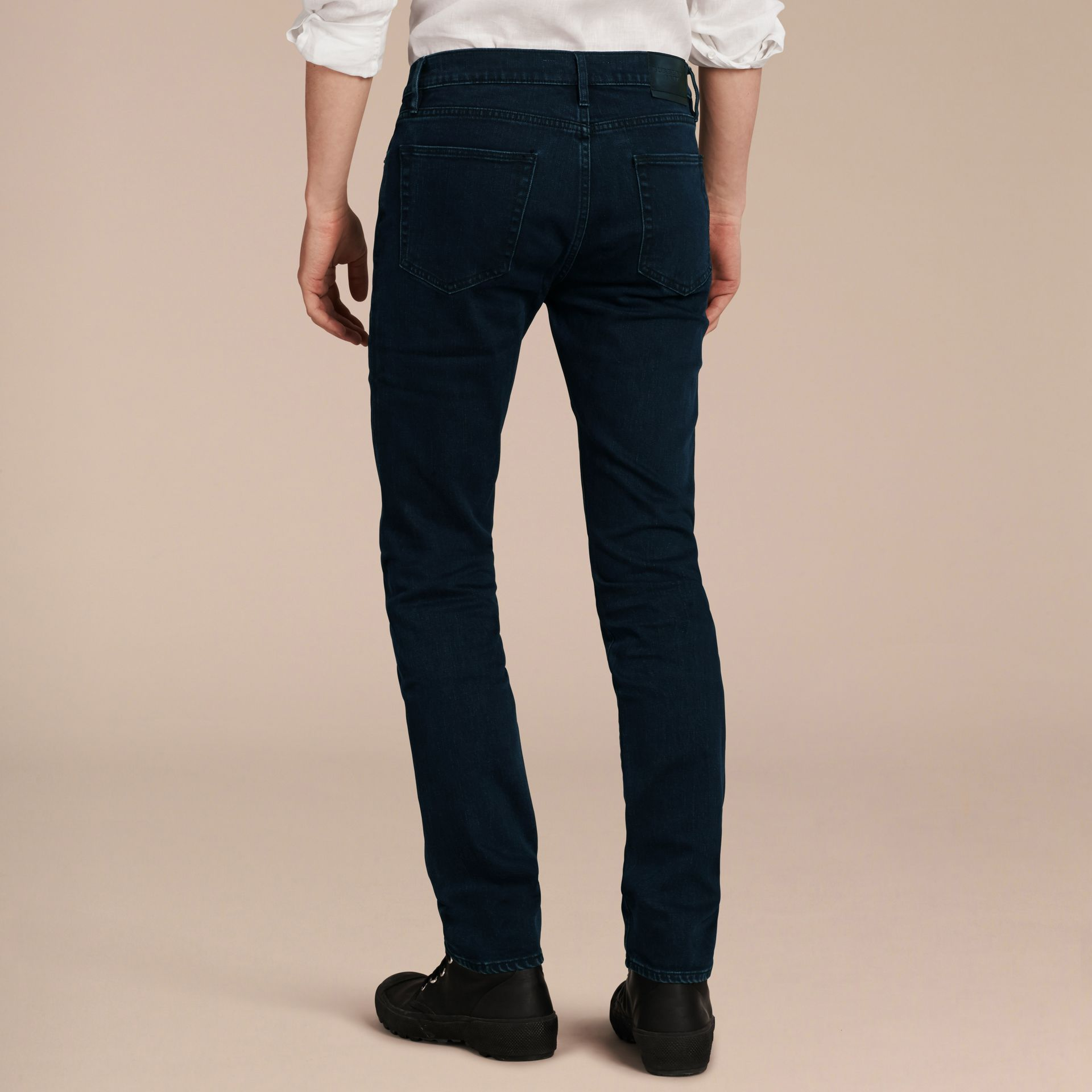Dark indigo Slim Fit Over-dyed Stretch Jeans - gallery image 3
