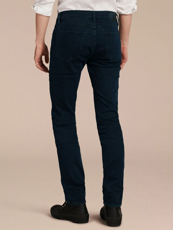 Dark indigo Slim Fit Over-dyed Stretch Jeans - cell image 2