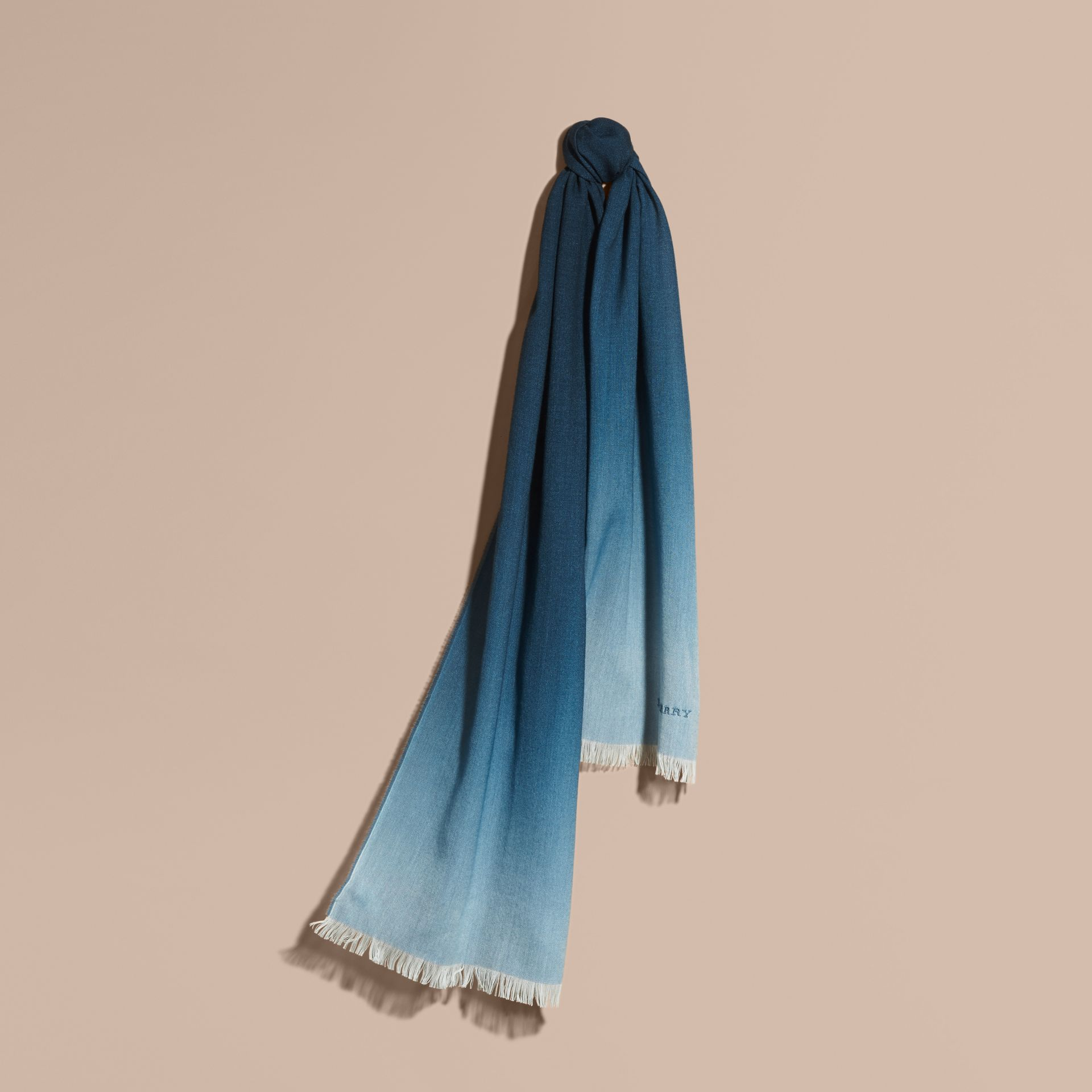 Lupin blue Lightweight Ombré Wool Cashmere Scarf - gallery image 1