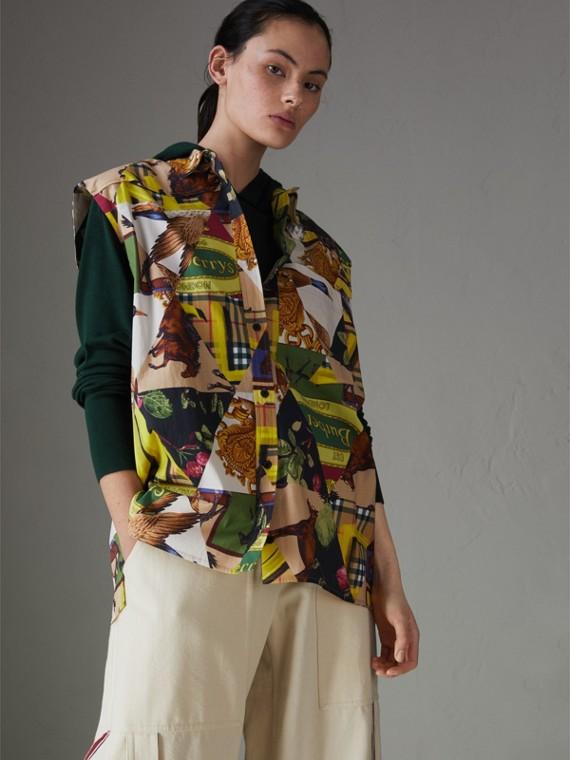 Camisa sin mangas en algodón elástico con estampado de pañuelos vintage (Amarillo Intenso)