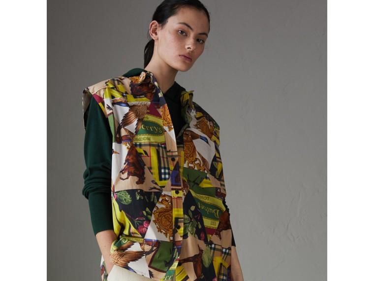 Camicia smanicata in cotone stretch con motivi d'archivio (Giallo Intenso) - Donna | Burberry - cell image 4