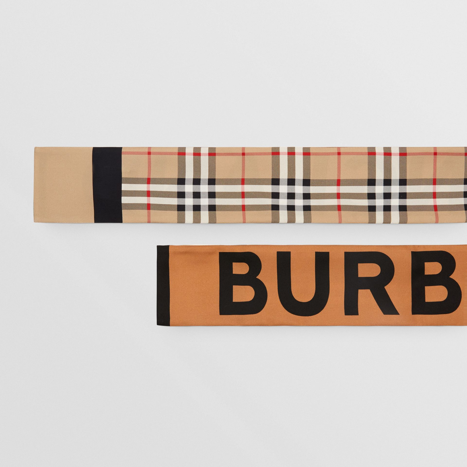 Vintage Check and Logo Print Silk Skinny Scarf in Archive Beige - Women | Burberry Australia - gallery image 1