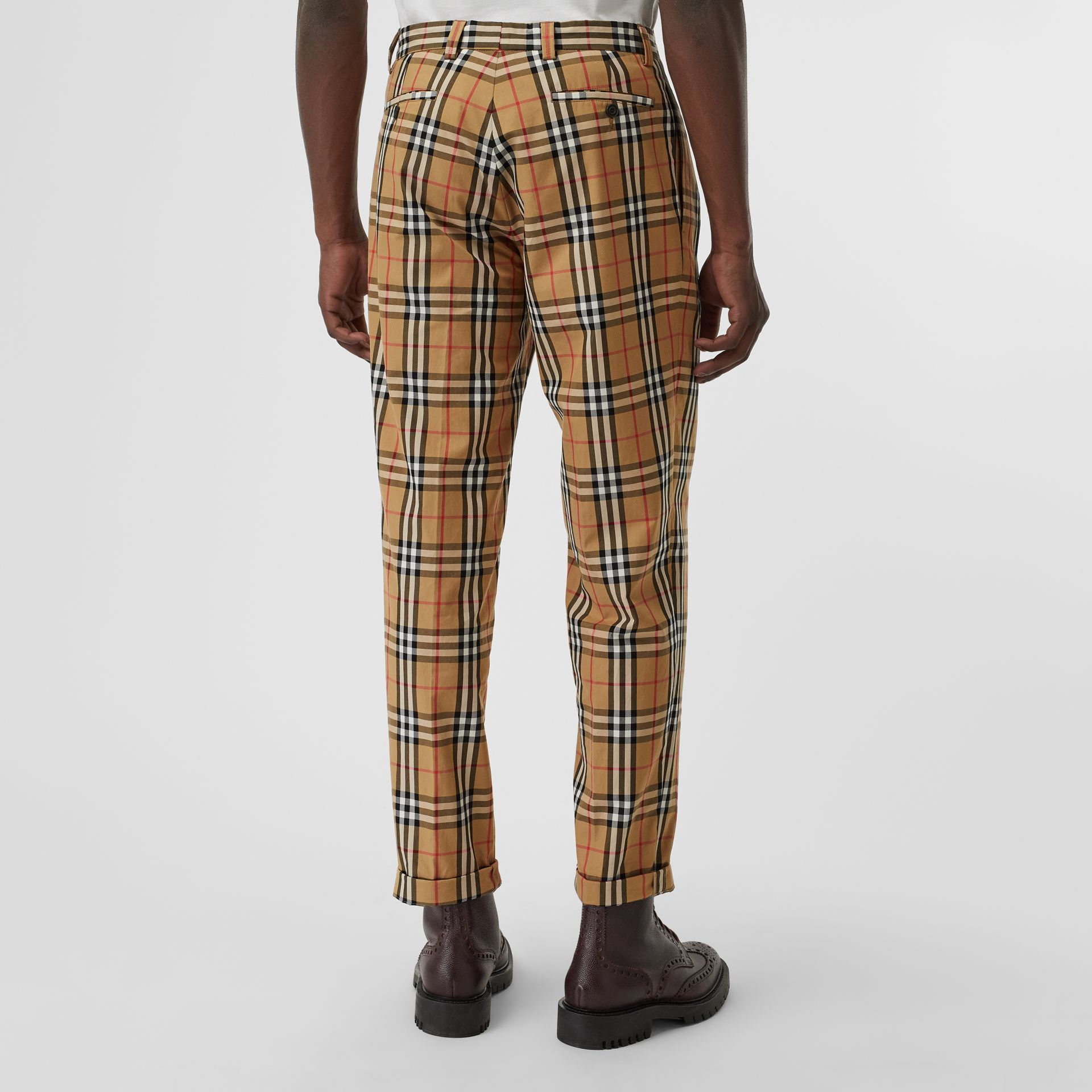 Vintage Check Cotton Trousers in Antique Yellow - Men | Burberry - gallery image 2