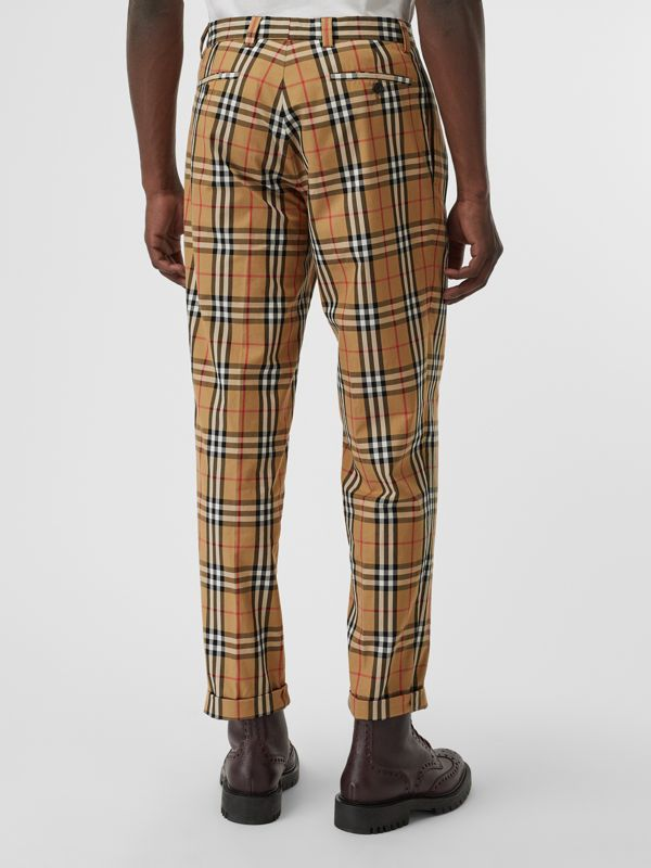Vintage Check Cotton Trousers in Antique Yellow - Men | Burberry Singapore - cell image 2