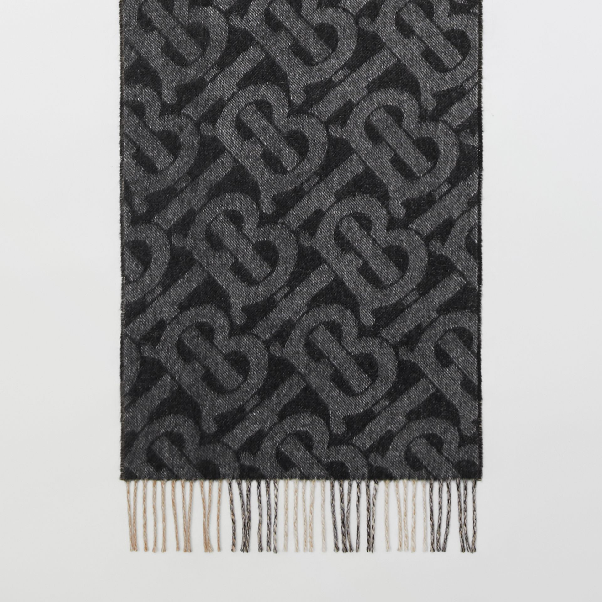 Reversible Check and Monogram Cashmere Scarf in Black / White | Burberry - gallery image 2
