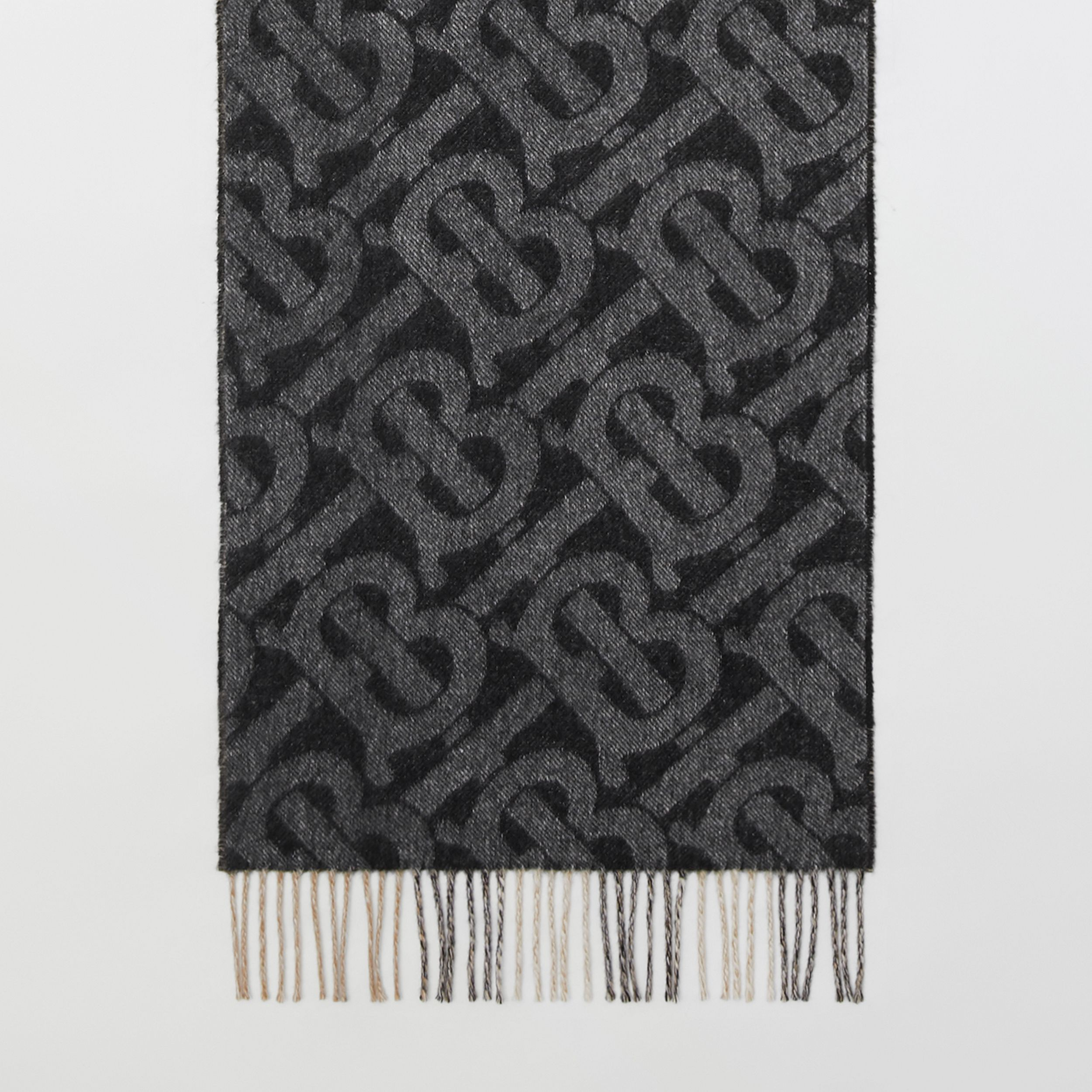 Reversible Check and Monogram Cashmere Scarf in Black / White | Burberry United Kingdom - 3