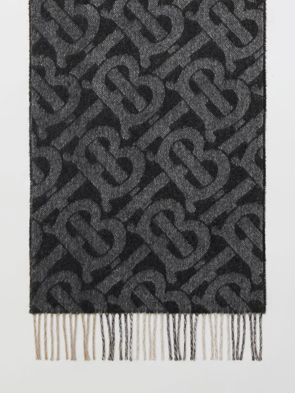 Reversible Check and Monogram Cashmere Scarf in Black / White | Burberry - cell image 2