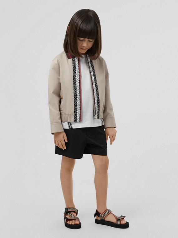 Monogram Stripe Print Cotton Harrington Jacket in Stone
