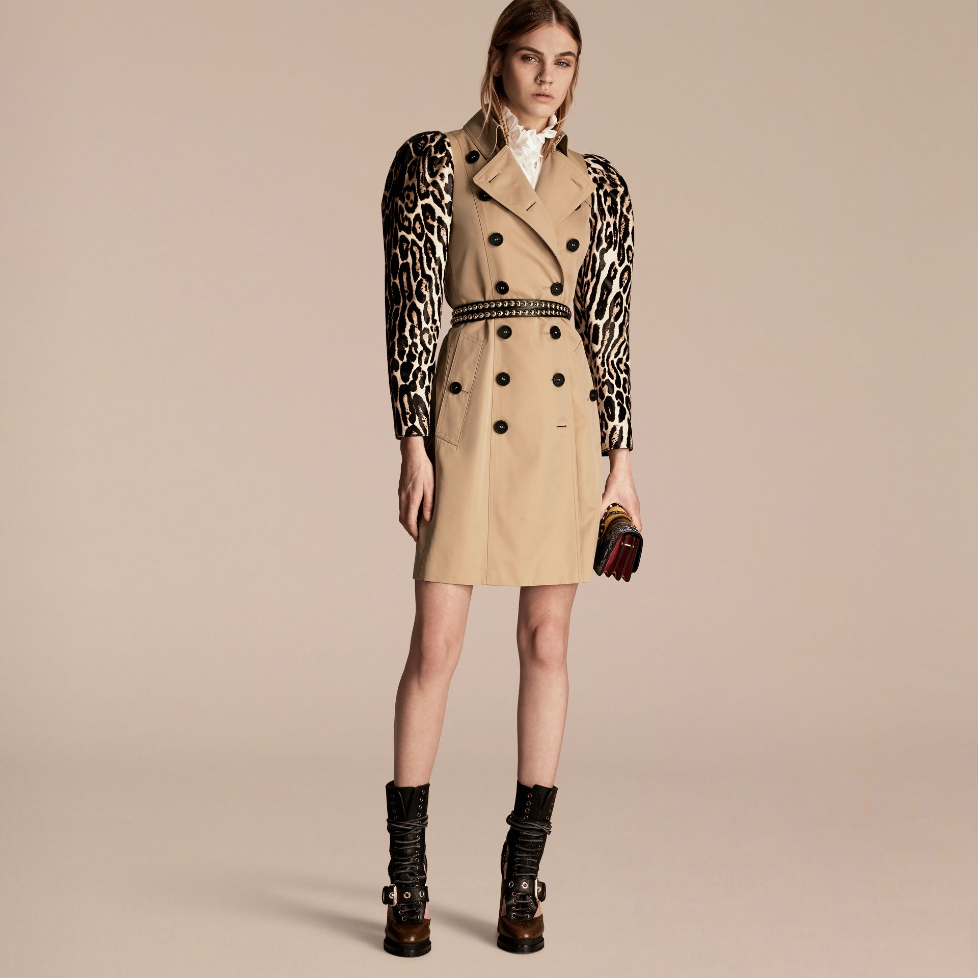 Honey Cotton Gabardine Trench Coat with Leopard-print Sleeves - gallery image 6