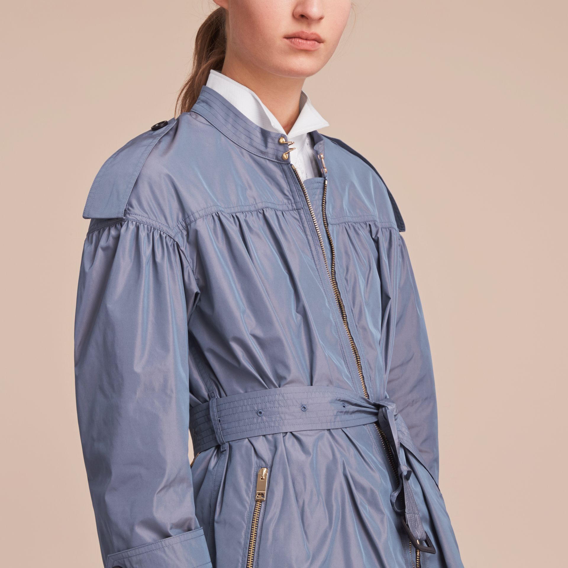 Lightweight Ruched Coat in Stone Blue - gallery image 5