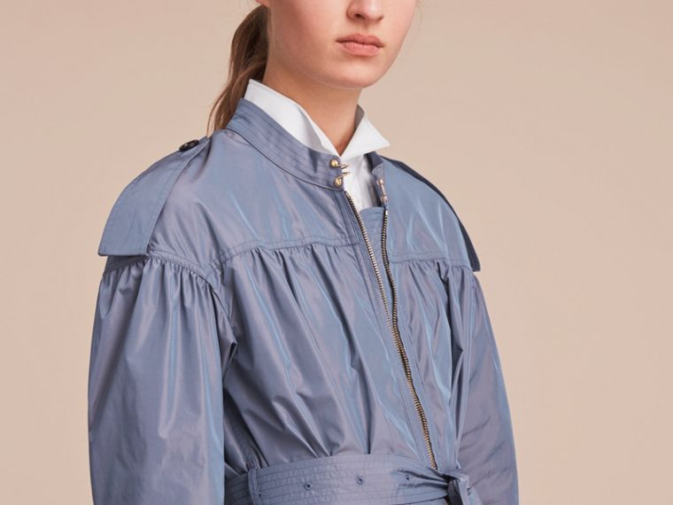 Lightweight Ruched Coat in Stone Blue - cell image 4