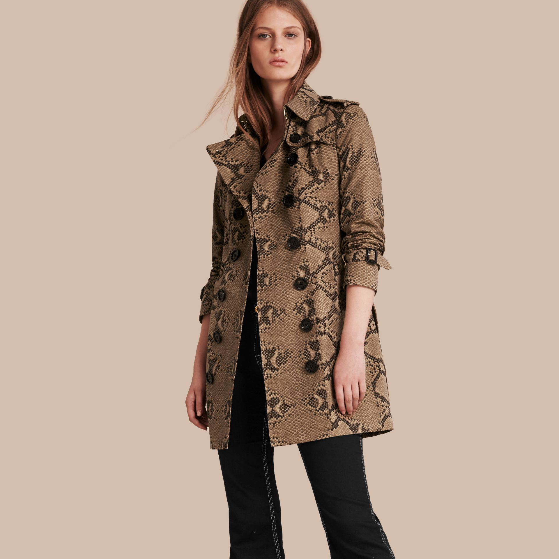 Honey/black Python Print Cotton Trench Coat - gallery image 1