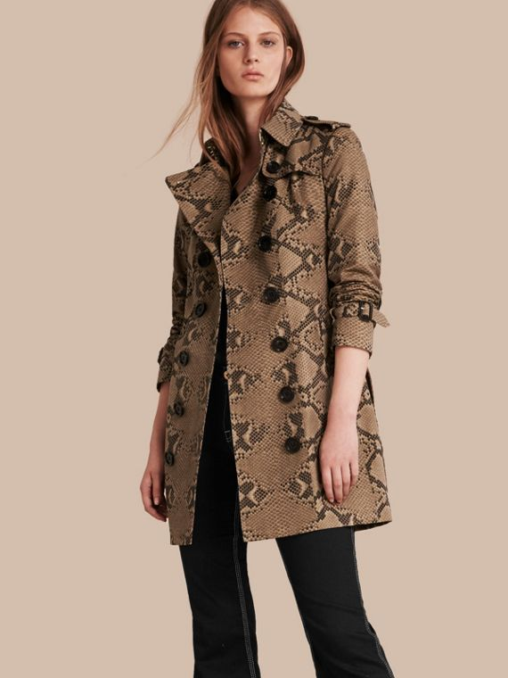 Python Print Cotton Trench Coat